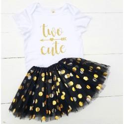 2e verjaardag setje Two Cute Black and Dots 2-delig
