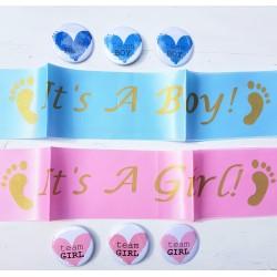 8-delige sjerpen en button genderreveal set