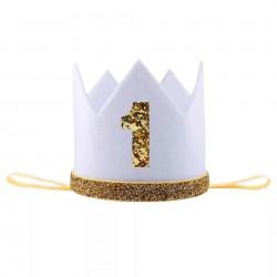 Aandoenlijk glitter hoedje wit met goud voor de eerste verjaardag van een jongen