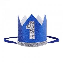 Aandoenlijk glitter hoedje blauw met zilver voor de eerste verjaardag van een jongen