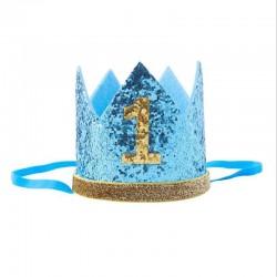 Aandoenlijk glitter hoedje blauw met goud voor de derde verjaardag van een jongen