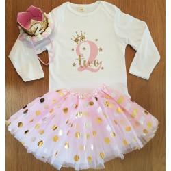 3-delig tweede verjaardag setje Princess White Pink and Dots