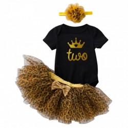 Baby romper Wild Princess zwart met gouden opdruk Two met goudkleurig kroontje