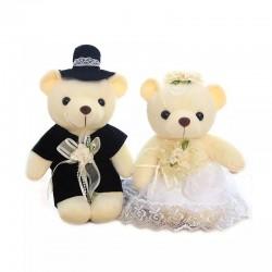 Berenbruidspaar 15 cm groot in een romantische bruidsoutfit