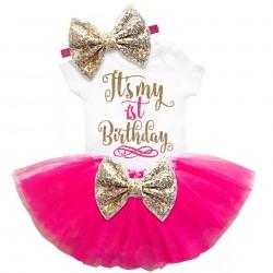 3-delig 1e verjaardag setje Elegant in de kleuren wit, goud en hot pink