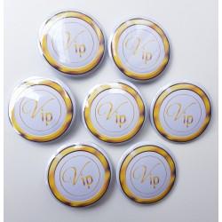 7 buttons Vip wit met goud