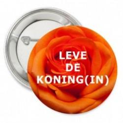 Button of sleutelhanger Oranje Koninginnedag Roos met de mogelijkheid van een eigen tekst
