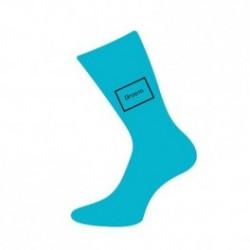 Turquoise sokken voor de huwelijksdag met tekst