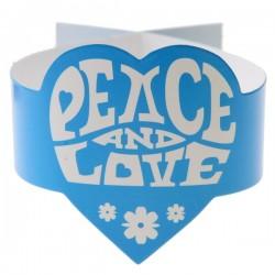 Pak met 6 servetringen Peace and Love turquoise