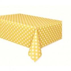 Plastic tafelkleed geel met witte stippen