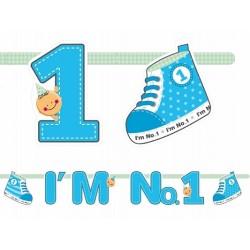 Blauwe letter banner I'm No 1