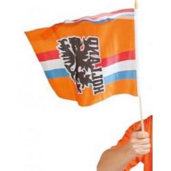 Zwaai vlag oranje met opdruk en wimpel 30x40cm