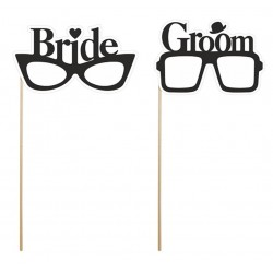 Foto props Bride and Groom Glasses