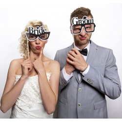 Foto props Bride and Groom Glasses