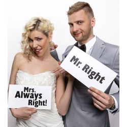 Funny cards Mr. Right and Mrs. Always Right