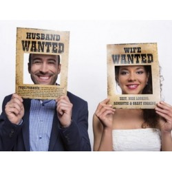 Grappige fotoprops Husband Wanted en Wife Wanted