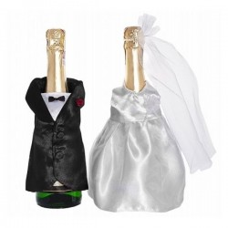 Champagnefles decoratie set Bride and Groom