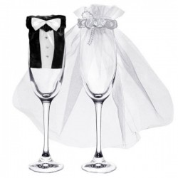 Chique glas decoratie set Bride and Groom