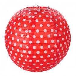 Pak met twee gestippelde lampionnen met een doorsnede van 20 cm rood