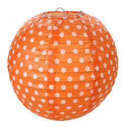 Pak met twee gestippelde lampionnen met een doorsnede van 20 cm oranje