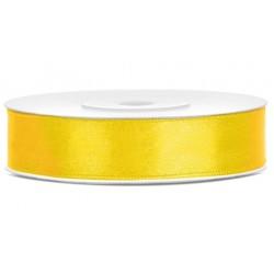 Satijn lint 25 meter lang in diverse breedtes geel