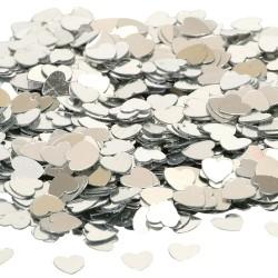 Zakje met 14 gram mini hartjes confetti zilver