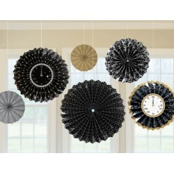 Pak met 6 hele bijzondere paper fans Happy New Year in zwart, zilver en goud