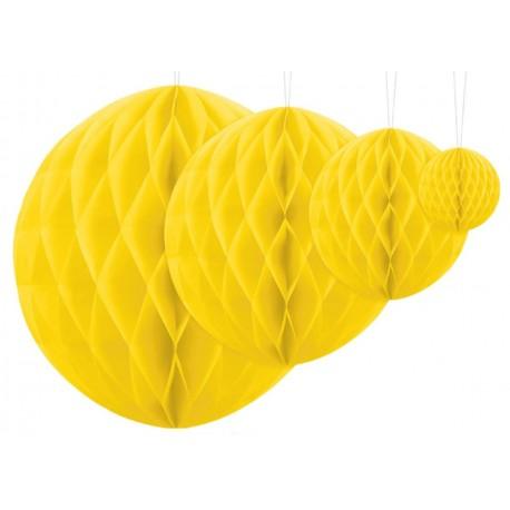 Aantrekkelijk geprijsde honeycomb bollen in 4 maten geel