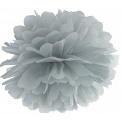 Pompoms 25 of 35 cm zilver grijs