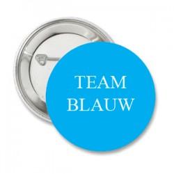 Button Team Blauw en/of eigen tekst