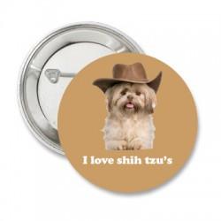 Button I Love Shih-Tzu's met eigen tekst
