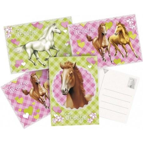 Pak met 6 uitnodigingskaarten Paarden
