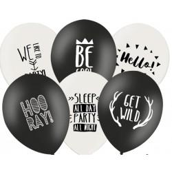 Ballonnen Zwart Wit Mix met fun tekst per 6 of 50 stuks