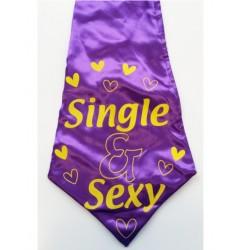 Grote stropdas paars met de tekst Single & Sexy