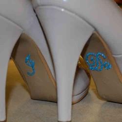 'I do' schoen sticker met strassteentjes blauw
