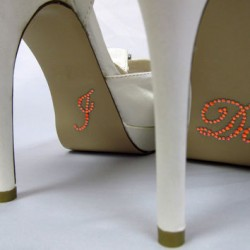 'I do' schoen sticker met strassteentjes oranje