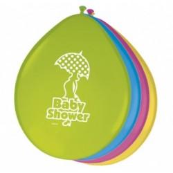 Babyshower zakje met 8 ballonnen multicolor