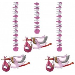 Drie hangdecoraties Ooievaar roze