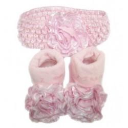 Lief setje bestaande uit sokjes met bloem en bijpassend haarbandje roze