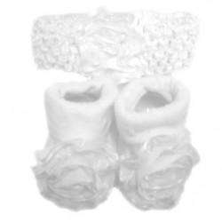 Lief setje bestaande uit sokjes met bloem en bijpassend haarbandje wit
