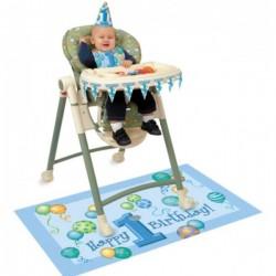 Kinder stoel decoratie set 1e verjaardag blauw