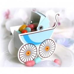 Pak met tien kartonnen geschenkdoosjes in de vorm van een wandelwagen blauw