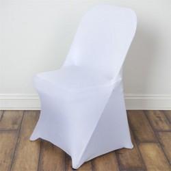Stretch stoelhoes wit voor stoel met rechte bovenkant