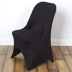 Stretch stoelhoes zwart voor stoel met rechte bovenkant