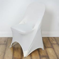 Stretch stoelhoes ivoor voor stoel met rechte bovenkant