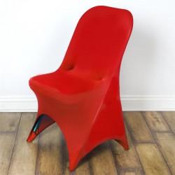 Stretch stoelhoes rood voor stoel met rechte bovenkant