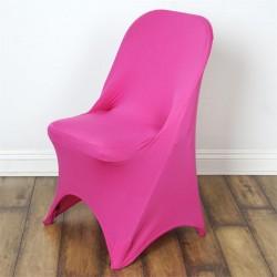 Stretch stoelhoes donker roze voor stoel met rechte bovenkant