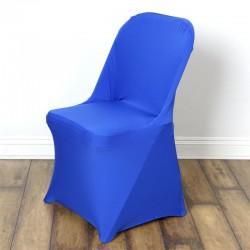 Stretch stoelhoes royal blue voor stoel met rechte bovenkant