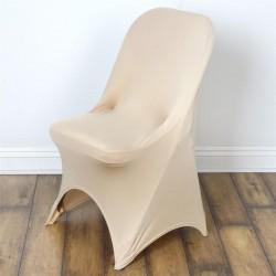 Stretch stoelhoes champagne voor stoel met rechte bovenkant