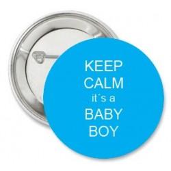 Button Blauw met Keep Calm of eigen tekst
